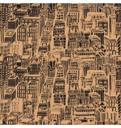 Hand drawn seamless pattern with big city New York vector image