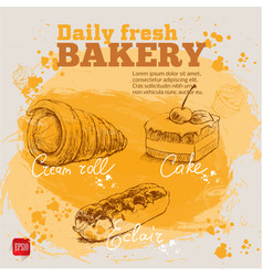 Hand drawn sketch cake eclair and cream roll vector