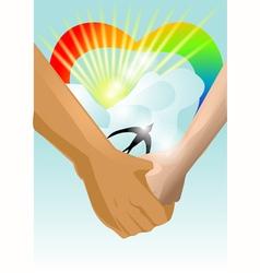 hand in hand vector image