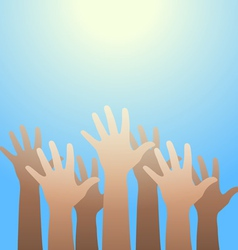 Hands raised up to the light Faith and hope vector