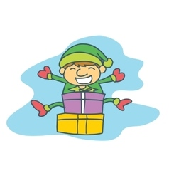 Happy elf with gift Christmas collection vector