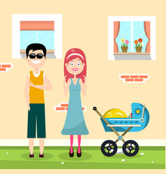 happy family with house on background and baby vector image