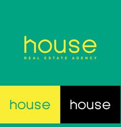 House logo letter h shape real estate agency vector