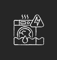 Household appliances malfunction chalk white icon vector