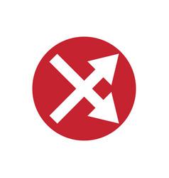 Icon crossed arrow in color circle vector