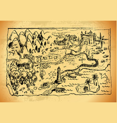 imaginary hand drawn old map vector image