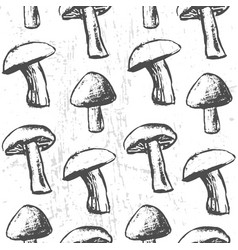 Ink hand drawn seamless pattern with mushrooms vector