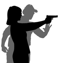 Instructor assisting woman aiming hand gun at vector