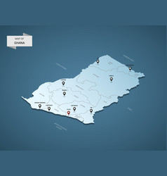 isometric 3d ghana map concept vector image
