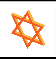 isometric flat hanukkah star of david jewish vector image