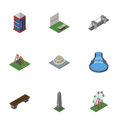 Isometric urban set of dc memorial aiming game vector