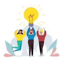 light bulb people work in a team and achieve the vector image