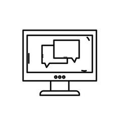 Line chat bubble message inside computer vector