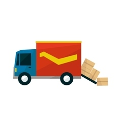 Long Distance Cargo Truck With Boxes Falling Out vector
