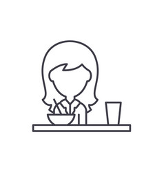 lunch in the dining room line icon concept lunch vector image