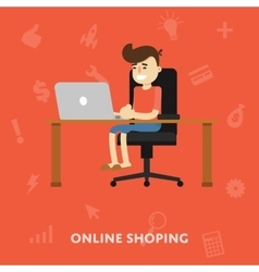 Man makes purchases sitting at a desk for laptop vector image