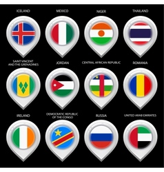 Map marker with flag-set sixth vector image