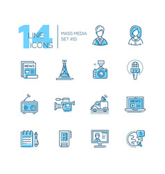 mass media - modern single line icons set vector image