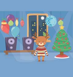 merry christmas celebration cute reindeer wearing vector image