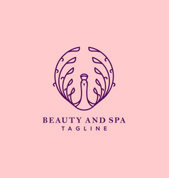 Mono line peacock beauty and spa logo vector