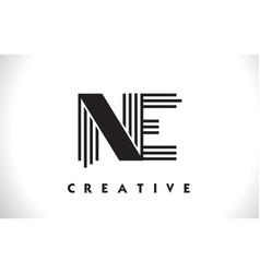 ne logo letter with black lines design line letter vector image