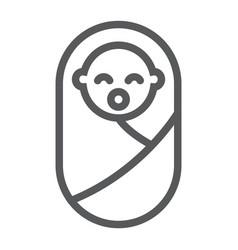 New born baby line icon child and newborn vector
