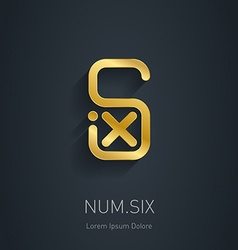 Number 6 golden logo template gold logotype or vector