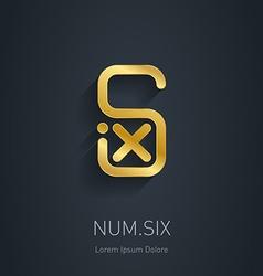 Number 6 golden logo template gold logotype vector
