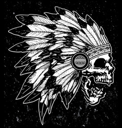 one color indian skull t shirt graphic design vector image