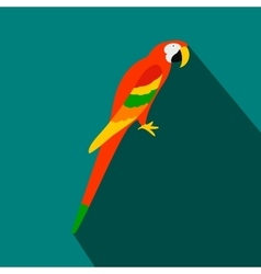 Orange brazil parrot icon flat style vector image