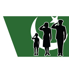 Pakistan soldier family salute vector