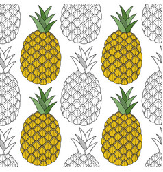pineapples tropical fruits black and white vector image