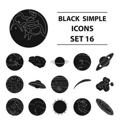 planets set icons in black style big collection vector image