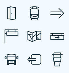 public icons line style set with bus train door vector image