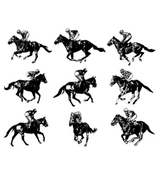 racing horses and jockeys vector image vector image