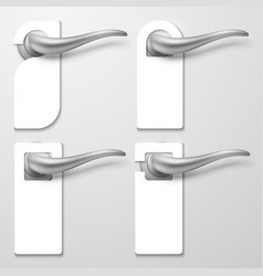 realistic hotel door handles with white blank vector image