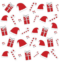 Red christmas hat candy cane seamless pattern vector