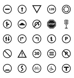 road sign icons on white background vector image