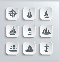 Sailboat Web Icons Set vector image