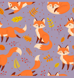 seamless foxes pattern autumn fox cute orange vector image