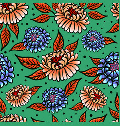 Seamless medievial pattern with fantasy flowers vector