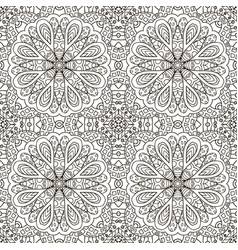 seamless pattern doodle ornament black and white vector image