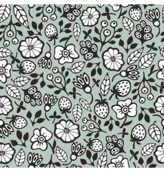 Seamless pattern with black and white plants vector image
