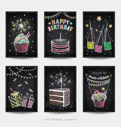 Set birthday invitation cards vector