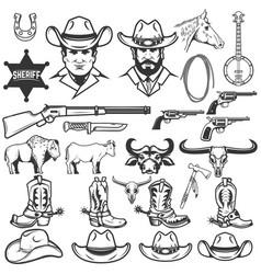 set cowboy design elements cowboy boots hats vector image