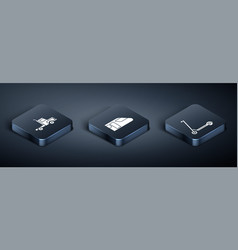 Set isometric delivery cargo truck vehicle vector