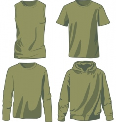 set of khaki shirts vector image vector image