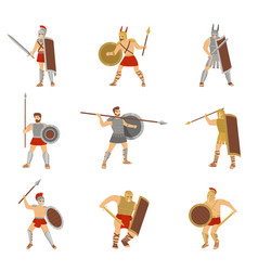 Set of roman warriors fighting with different vector