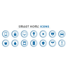Set smart home line icons wireless temperature vector