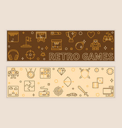 Set two retro games linear banners vector